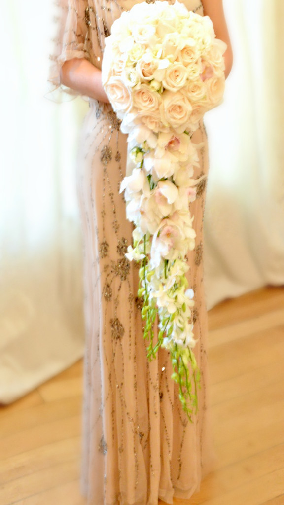 Trailing White Ivory Pink Rose and Orchids Bridal Bouquet Cherie Kelly London