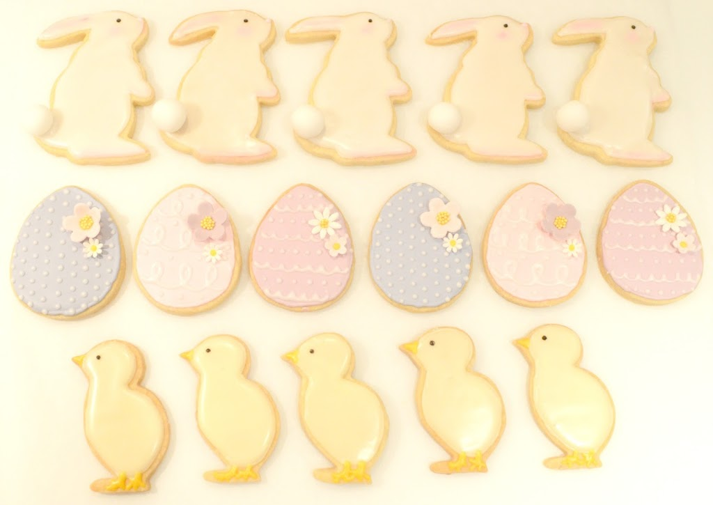 Cheire Kelly's Iced Easter Bunny, Chick and Egg Lemon Cookies