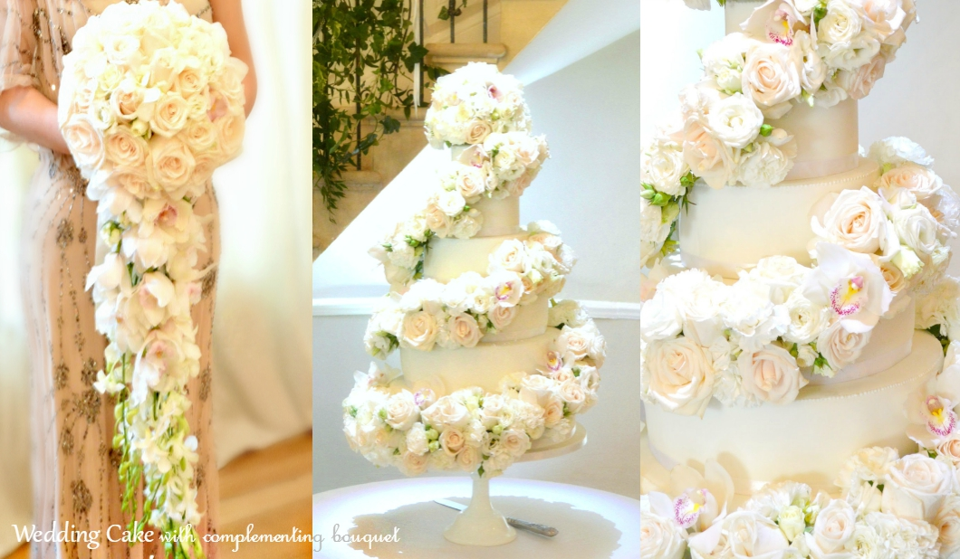 6-tier White Ivory Rose and Orchids Floral Cascade Spiral Wedding ...