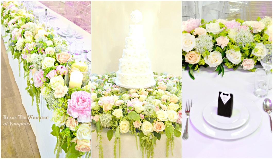 Black Tie Wedding Vinopolis Cherie Kelly London Wedding Cake and Wedding Flowers