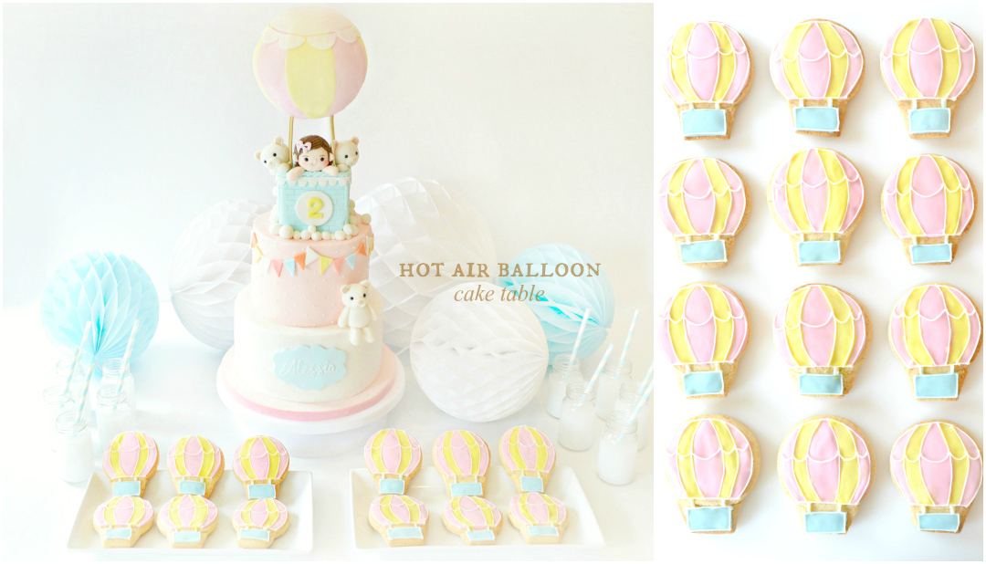 Pastel Pink, Yellow and Blue Hot Air Balloon Birthday Cake and Cookies Dessert Cake Table Cherie Kelly London