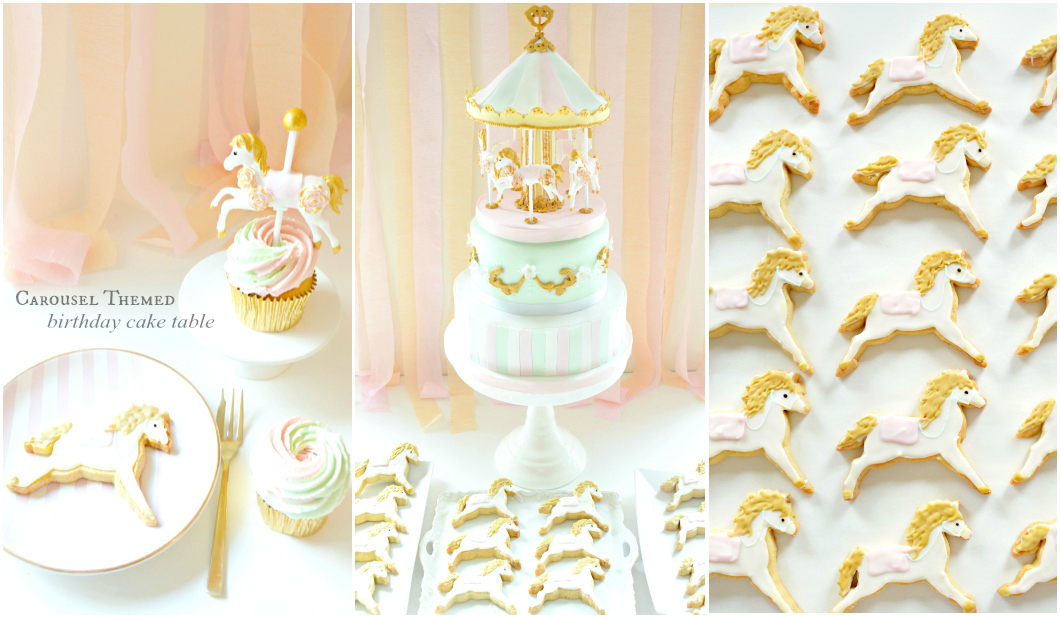 Pink, Mint and Gold Carousel Birthday Christening Cake and Cookies Cake Cupcakes Table Cherie Kelly London
