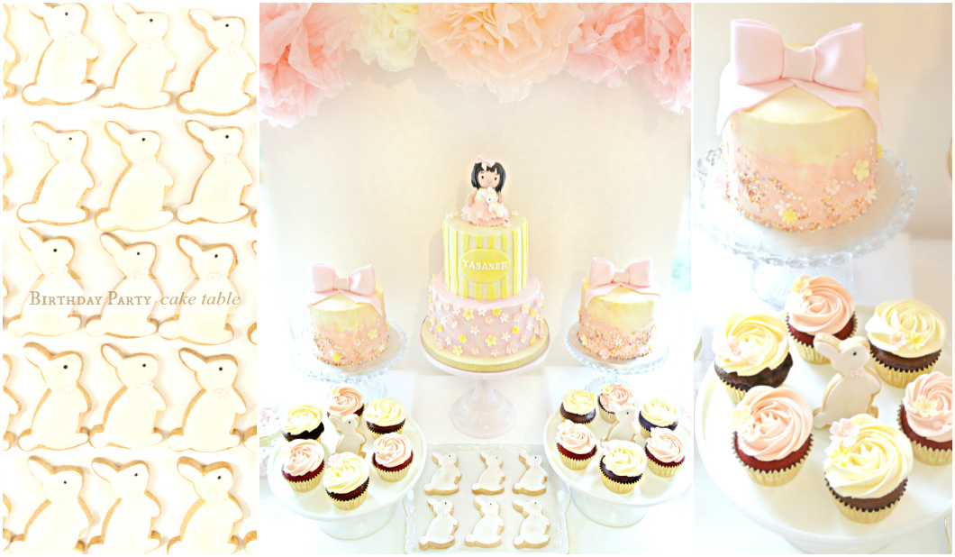 Pink and Cream Bunny Rabbit Themed Birthday Party Dessert Cake Table London Cherie Kelly Surrey