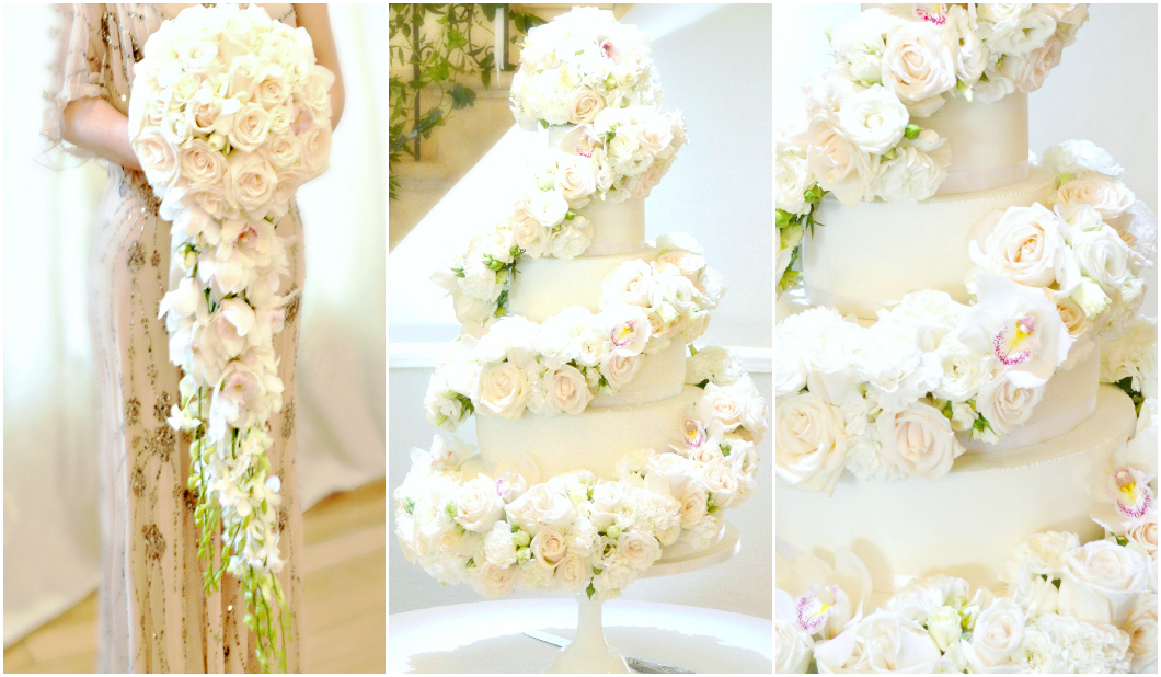 Rose and Orchids Floral Cascade Spiral Wedding Cake and Bridal Flower Bouquet for Eastington Park Cherie Kelly London