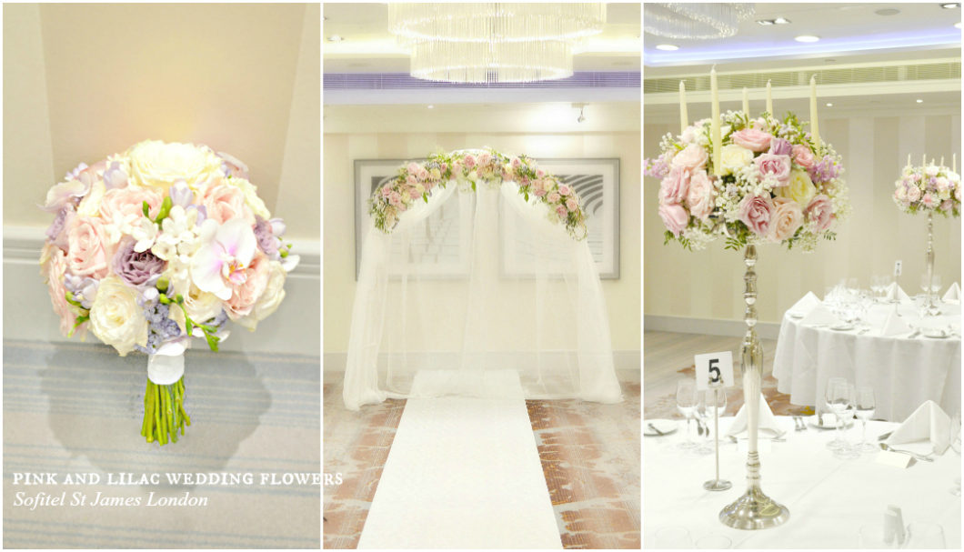 White, Pink and Lilac Bridal Bouquet, Wedding Flower Arch, Tall Candelabra Wedding Centrepiecess Cherie Kelly London