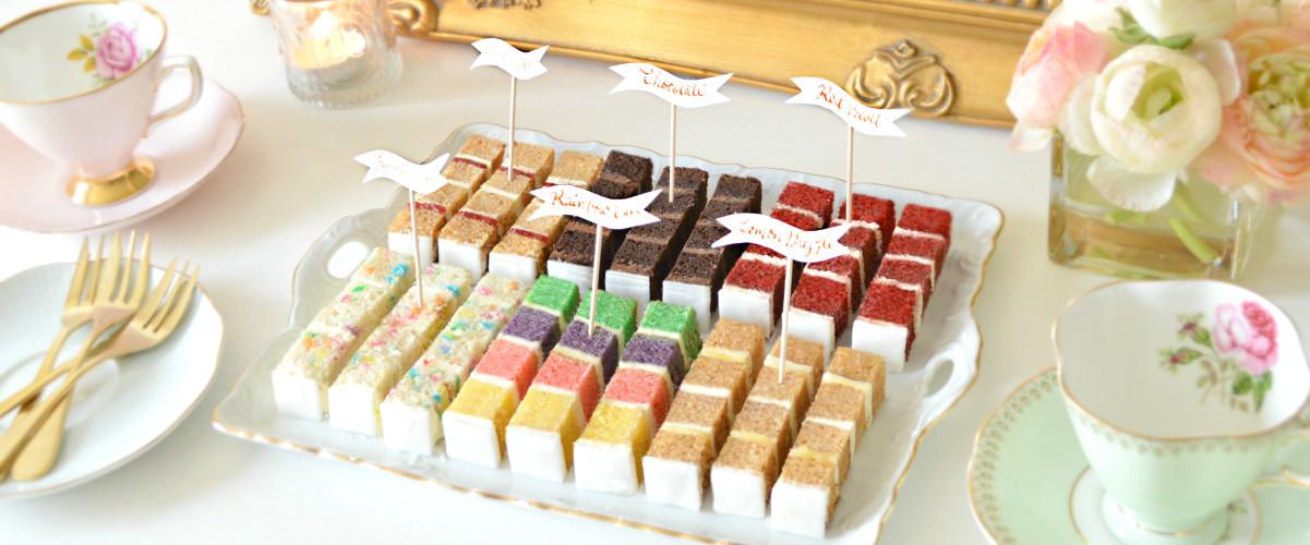 Cherie Kelly Wedding Cake Tasting Victoria Sponge, Chocolate Cake, Red Velvet, Funfetti, Rainbow and Lemon Drizzle Cake Slices London