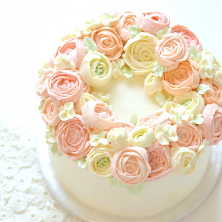 Piped Buttercream Pastel Flower Wreath Cake Class Cherie Kelly London