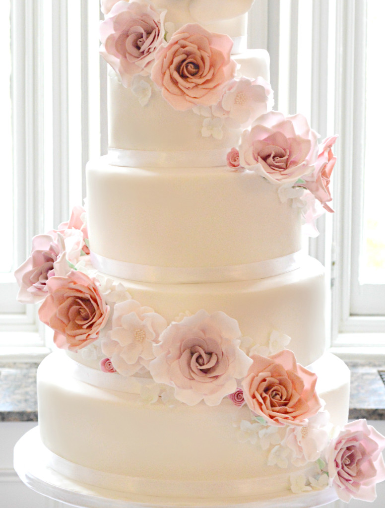 Cherie Kelly Cascade Pink Peach Sugar Flowers and Roses Wedding Cake