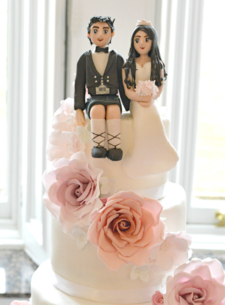 Cherie Kelly Cascade Sugar Flowers and Roses with Bride and Scottish Groom Wedding Cake Topper