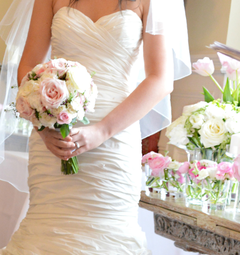 Cherie Kelly Fawsley Hall Pink and Cream Bridal Flower bouquet 1