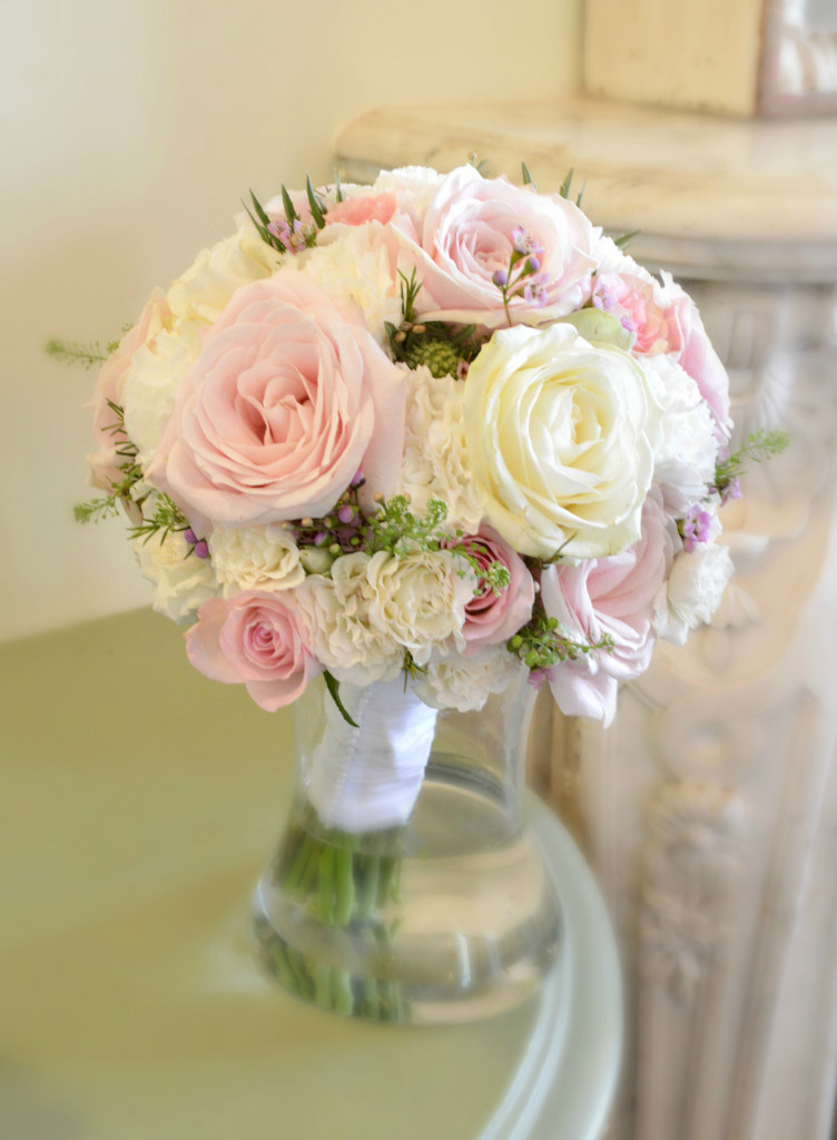 Cherie Kelly Fawsley Hall Pink and Cream White Bridal Flower bouquet