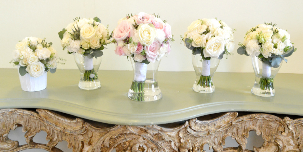 Cherie Kelly Fawsley Hall Bride's and Bridesmaids' cream white flower bouquets