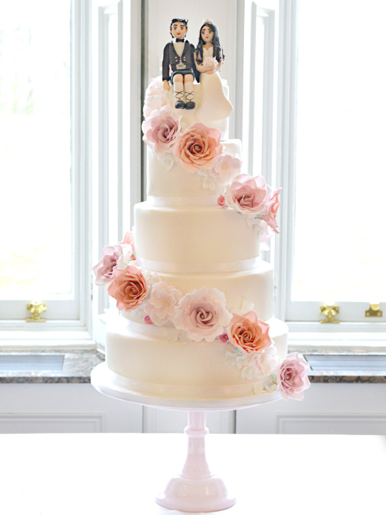 Cherie Kelly Fawsley Hall Cascade Sugar Roses with Bride and Scottish Groom Cake Topper Wedding Cake