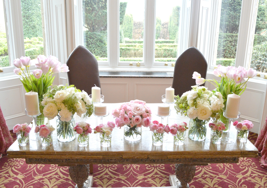 Cherie Kelly Fawsley Hall Flower arrangement for the Registry Table Wedding Ceremony