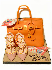 Hermes Birkin Orange Handbag Birthday Cake with Scarf and Valentino Rockstud Pumps High Heel Shoes - Cherie Kelly's Cake London