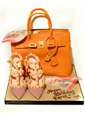 Hermes Orange Birkin Handbag Birthday Cake with Scarf and Valentino Rockstud Pumps High Heel Shoes  Cherie Kelly Cake London