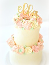 2 Tiers Pastel Buttercream Flowers Birthday Wedding Cake with Gold Cake Topper Cherie Kelly London