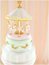 2 tiers Pink and Mint Carousel Cake Cherie Kelly London