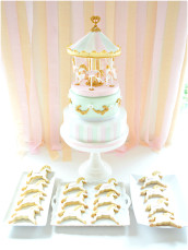 2 tiers Pink and Mint Carousel Cake and Cookies Cherie Kelly London