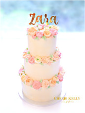 3 tiers Korean pastel buttercream flowers birthday wedding cake with gold cake topper Cherie Kelly London