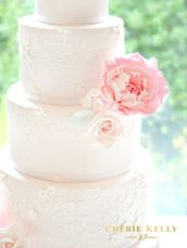5 Tier Pink Wedding Cake with Lace, Sugar Peony, Roses and Flowers Cherie Kelly