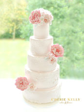 5 Tier Pink Wedding Cake with Lace, Sugar Peony, Roses and Flowers Cherie Kelly London