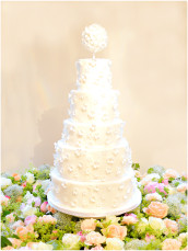 5 tiers Floral, Pearls and Beads Applique Pomander Wedding Cake  Cherie Kelly London