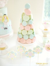 Alice in Wonderland Theme Cake, Pastel Macarons Tower, Cupcakes and Cookie Pops Birthday Party Cake Table Cherie Kelly London