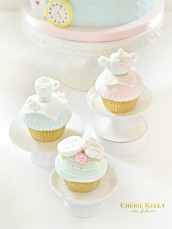 Alice in Wonderland Theme Teapot Saucer Cupcakes Cookies Birthday Party Cake Table Cherie Kelly London