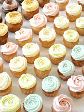 Assorted Pastel Colour Buttercream Swirl Mini Cupcake - Coconut, Apple, Raspberry, Latte, Caramel, Lemon, Carrot, Banana, Vanilla, Chocolate Mini Cupcakes London Cherie Kelly