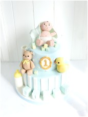 Pastel Blue Baby Boy One Year Old First Birthday Cake