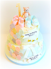 One years old Baby Boys and Girls Birthday Cake with Balloons London Cherie Kelly
