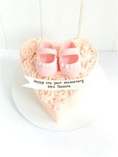 Baby Girl Shoes Buttercream Roses Heart shaped anniversary baby shower cake