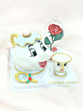 Beauty and the Beast Mrs. Potts and Chip teapot cake with the enchanted rose and mirror Cherie Kelly London Hong Kong