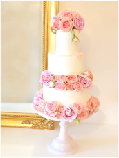 Blush Pink Roses Open Stacked Wedding Cake Cherie Kelly London