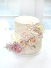 Blush Pink and white Avalanche rose and astilbe rustic buttercream wedding cake Cherie Kelly Wedding Cake London Bingham Hotel Richmond