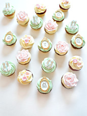 Bridal Shower Bridesmaid Present Cupcakes Gold Pink Blue and Mint Cherie Kelly London