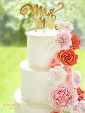 5 Tiers Cascade Pink, White and Red Sugar Roses, Peony, Ranuculus and Hydrangeas Wedding Cake with Mr & Mrs Gold Cake Topper Cherie Kelly London
