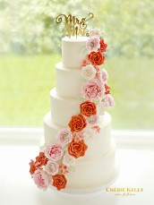 5 Tiers Cascade Pink, White and Red Sugar Roses, Peony, Ranuculus and Hydrangeas Wedding Cake with Mr & Mrs Gold Cake Topper