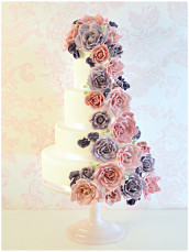 Cascade Wedding Cake with Sugar Vintage Roses and Sweet Pea Cherie Kelly London