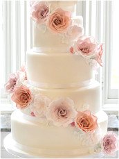 Cherie Kelly Cascade Pink Peach Sugar Flowers and Roses Wedding Cake London
