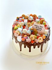 Chocolate Drip Birthday Cake with Sweets and Cookies Cherie Kelly London