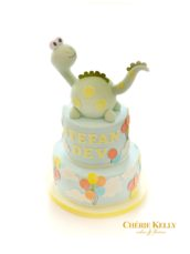 Dinosaur and Balloons First Birthday Boy Cake Cherie Kelly London