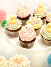 Easter Bunny, Chick, Sheep and Easter Eggs Cupcakes  Cherie Kelly Cake London