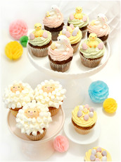 Easter Sheep, Bunny, Chick and Easter Eggs Cupcakes  Cherie Kelly Cake London