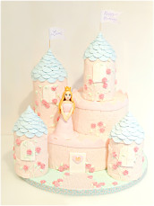 Fairy Tale Pink and Blue Princess Castle Birthday Cake London Cherie Kelly