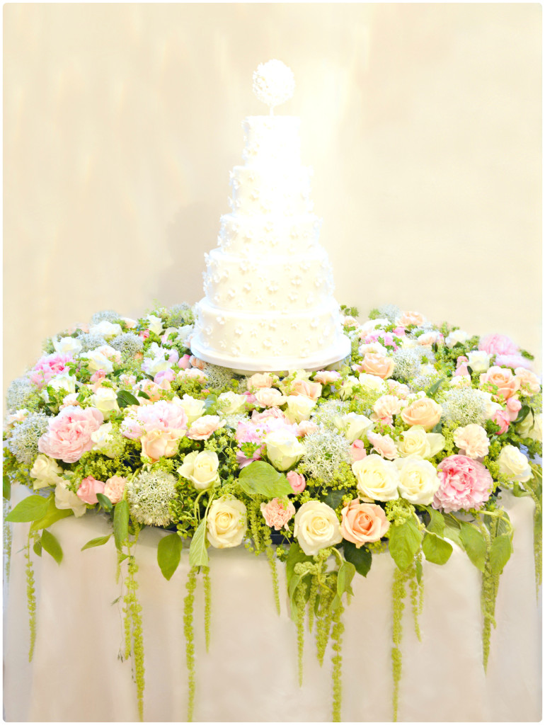 Flowers, Pearls and Beads Applique Pomander Wedding Cake