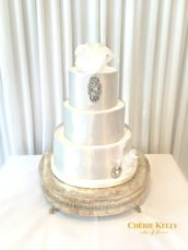 Gatsby Feather Jewel Silver Wedding Cake Cherie Kelly London