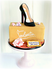 Gluten Free and Dairy Free Christian Louboutin Black High Heel Shoe Box Birthday Cake Cherie Kelly Cake London
