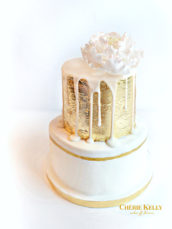 Gold Leaf and Drip Cake with Sugar Peony Birthday Wedding cake
